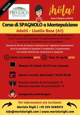 Nuovo Corso Base di Spagnolo per Adulti a Montepulciano 2019-2020
