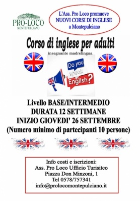 Nuovo Corso di INGLESE alla Pro Loco Montepulciano