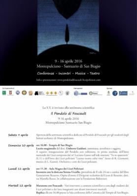 Il Pendolo di Foucault dal 9 al 16  Aprile