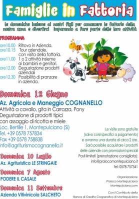 FAMIGLIE IN FATTORIA 2016 - Domenica 12 Giugno - Agriturismo Cognanello (Montepulciano)